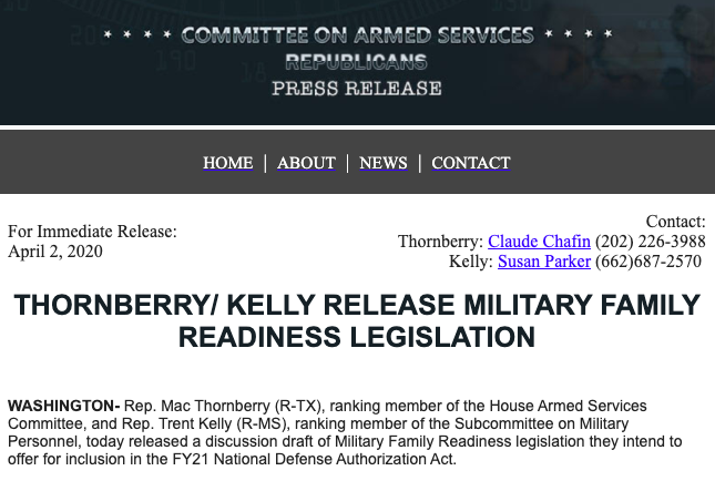 Military Family Readiness Legislation